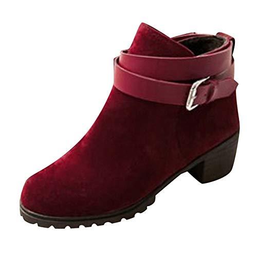 (COPPEN Women Boots Short Ankle Buckle- Strap Middle Heel Winter Roman)