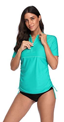 Charmo Damen Rashguard UV Shirt Kurzarm Badeshirt Badenmode Tankini UPF50+
