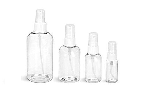 White Bullet Bottle - 4 Oz Plastic PET Bullet Bottle (BLUE) with White Fine Mist Sprayer (Set of 12)