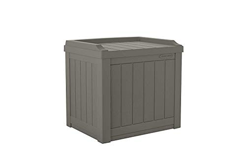Suncast 22-Gallon Small Deck Box - Lightweight Resin Outdoor Storage Deck Box and Seat for Patio Cushions, Gardening Tools and Toys - Stone Gray (Seat Outdoor Box Storage)