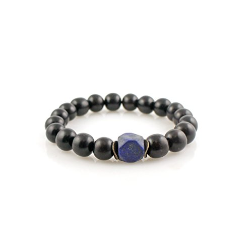 Ebony Accents (Zen Series: Mala Bracelet with Lapis Lazuli Nugget, Black Ebony, Silver Twist Accents (Medium - 7)