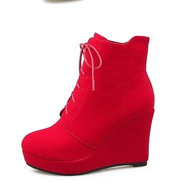 LFNLYX Mujer-Plataforma-Plataforma-Botas-Vestido / Casual-Piel-Negro / Rojo Red