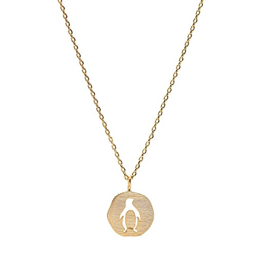 Spinningdaisy Handmade Tiny Jewel Brushed Metal Penguin Medal Necklace Gold