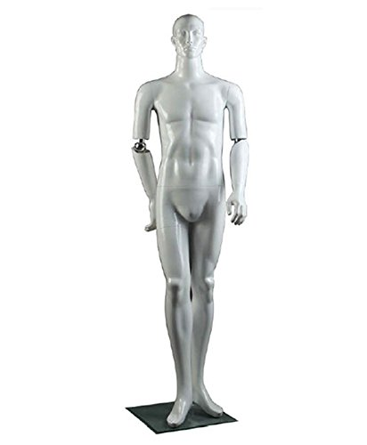 AMKO FM/1 Flexible Elbow Mannequin Male, Flexible Arms at Elbows, Bendable, Rotatable Arms, Include Base Plate, Supporting Rods, Abstract Features, Realistic Hands & Facial Features by AMKO