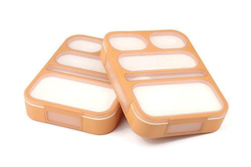 Leakproof Bento Lunch Box Set With 5 Compartments | 2 Food Prep & Meal Planning Containers For Kids And Adults | BPA Free & FDA Approved | Microwave, Dishwasher and Freezer Safe By PlusPoint (Orange)