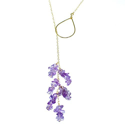 STELLA HANDMADE JEWELRY 14-kt Gold-Filled Brass Shape Pendant Necklace with Amethyst Chips, 21''
