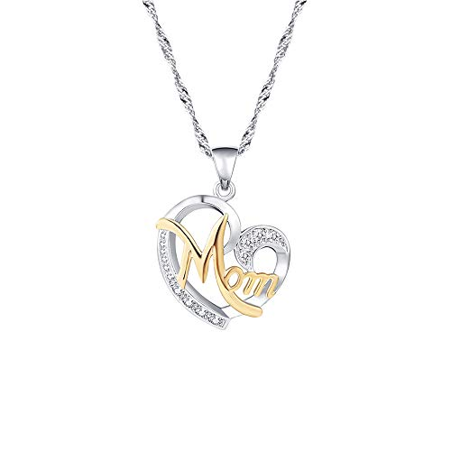 Lebms Women Precious Gift for Mother's Day Necklace Pendant, Full of Small Cz Heart-Shaped MOM Pendant Necklace -