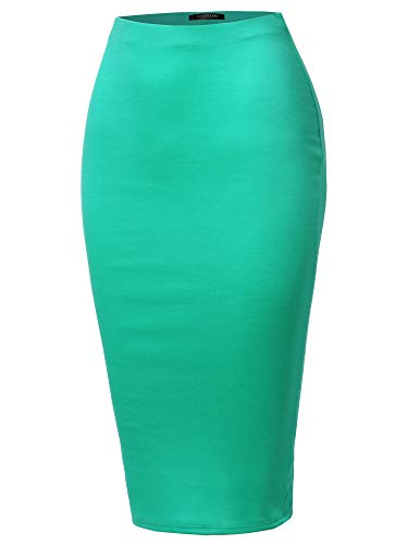 SSOULM Women's Stretchy Fitted Midi Pencil Skirt with Back Slit Mint M