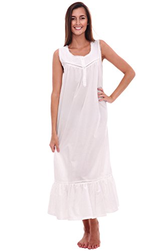 Alexander Del Rossa Womens Patricia Cotton Nightgown, Long Victorian Sleeveless Sleepwear, Large White (A0526WHTLG)