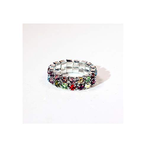 - PREtty-2 Elastic 925 Sterling Silver Single Row Cz Crystal Toe Ring 3Mm,Resizable,2 Rows Colorful