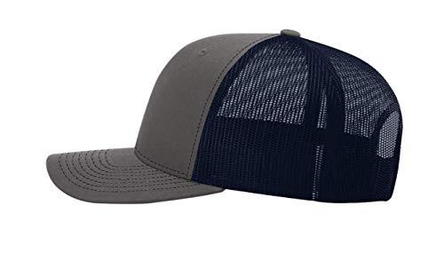 881637349 Custom Richardson 112 Hat with Your Logo Embroidered Trucker Mesh Snapback  Cap (Adjustable Snapback Split Colorway, Charcoal/Navy)