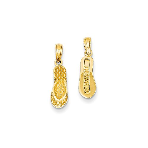 14k Number Flip Flop Pendant (Diamond2Deal 14k Yellow Gold 3-D Hawaii Flip-Flop Pendant)