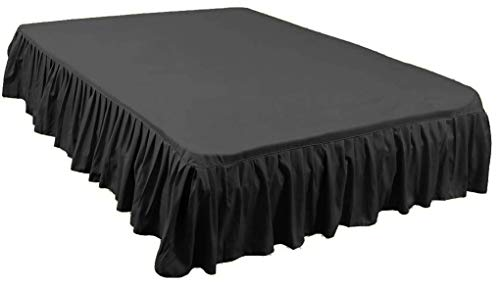 Queen Gathered Skirt - Green Team Linens - Romantic Look Queen Size Ruffled/Gathered Bed Skirt with 15 Inch Drop in Solid Deep Black - 1500 Series Burshed Microfiber - Wrinkle & Stain Resistant Dust Ruffle