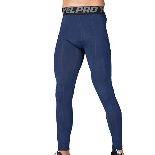 TANGSen Men's Sports Training Bodybuilding Pant Elastic Force Workout Fitness Gym Long Pants Sports Casual Pants(Navy,XXL) ()