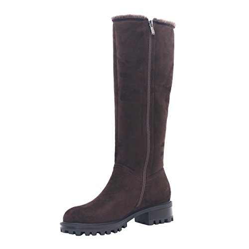 Toe Marron Suede Botte Femmes Chaussures Chaud Le Hiver Toe ZAPROMA Automne Genou Heel Chunky Ix4qBwYR