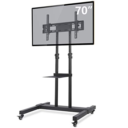 TAVR Mobile TV Stand Rolling TV Cart Floor Stand with Mount on Lockable Wheels Height Adjustable Shelf for 32-70 inch Flat Screen or Curved TVs Monitors Display Trolley Stand Loading 110lbs MT1001