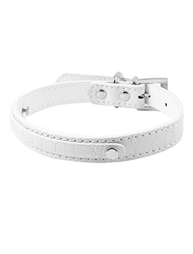 Picture of uxcell Single Pin Buckle Alligator Pattern Pet Dog Collar M White