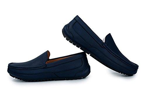 Tda Moda Para Hombre Cómodo Slip On Leather Driving Business Vestido Mocasines Zapatos De Barco Azul