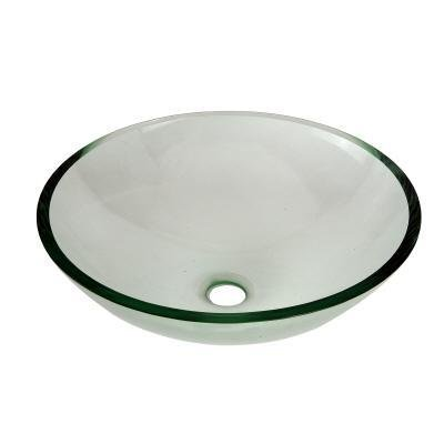 Pegaus Round Glass Vessel Bathroom Sink With Drain Kit