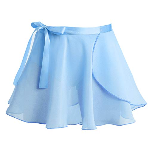 iEFiEL Kids Girls Dance Basic Chiffon/Floral Lace Wrap Skirt Ballet Pull-On Skirt Dancewear Costumes Light Blue Wrap Skirt with Tie 12-16