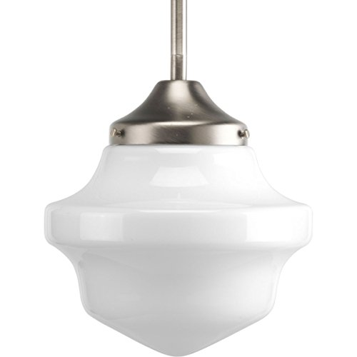 Collection Hanging Lamp - Progress Lighting P5196-09 Schoolhouse Collection 1-Light Mini-Pendant, Brushed Nickel