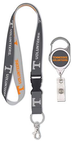 WinCraft Bundle 2 Items: Tennessee Volunteers 1 Charcoal Lanyard and 1 Premium Badge Reel