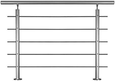 Geländer-Basis-Set in Aluminium eloxiert zur Bodenmontage mit Überkletterschutz