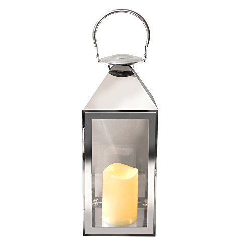 Lumabase 90901 Traditional Metal Lantern with LED Candle, Chrome
