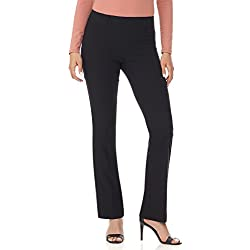 Rekucci Women's Ease in to Comfort Fit Barely Bootcut Stretch Pants (14,Black Texture)