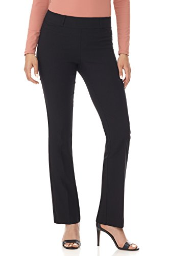 Rekucci Women's Ease in to Comfort Fit Barely Bootcut Stretch Pants (2SHORT,Black Texture)