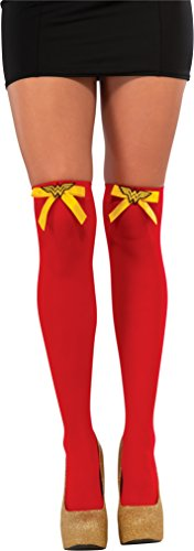 Adults Womens Costumes Stockings (Rubie's Costume Co Women's DC Superheroes Wonder Woman Thigh Highs, Multi, One Size)
