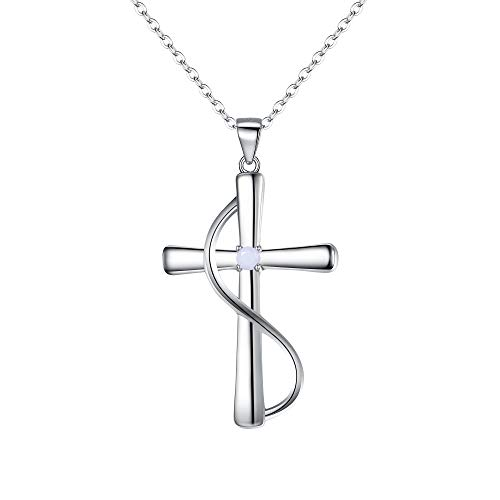 BriLove 925 Sterling Silver Cross Necklace June Birthstone Jewelry CZ Faith Hope Love Pendant Necklace for Women White Pearl