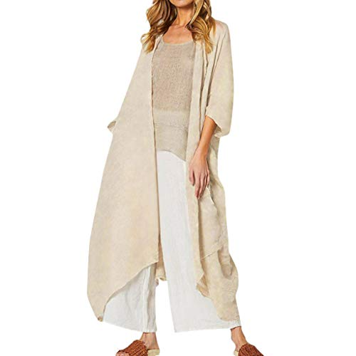 JESPER Women Retro Linen Cotton Long Cardigan Casual Loose Basic Full Length Raw Cut Hem Kimono Blouse Coat