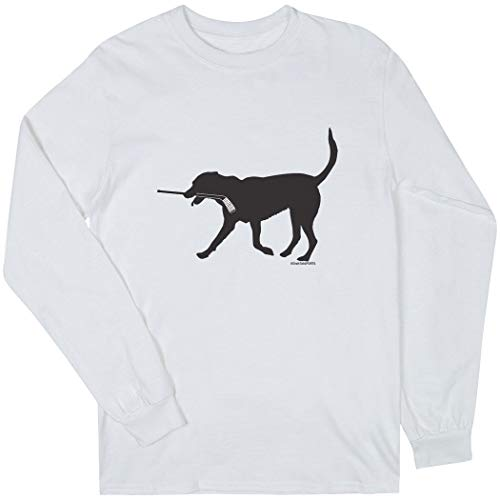 ChalkTalkSPORTS Hockey Long Sleeve T-Shirt | Howe the Hockey Dog | White | XX-Large