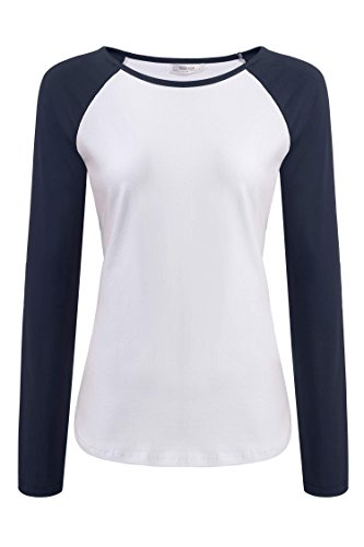 Meaneor Women's Color Block Crew Neck Cotton Long Sleeve Top T-shirts Navy Blue and White XXL