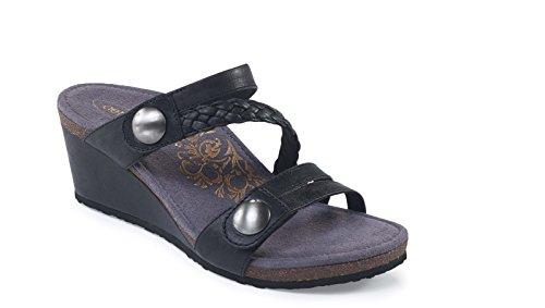 Lydia QTR Strap Wedge Sandal BLK ()