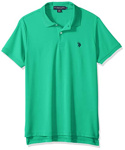 U.S. Polo Assn. Men's Solid Stretch Performance Polo Shirt, Tracksuit Green, L