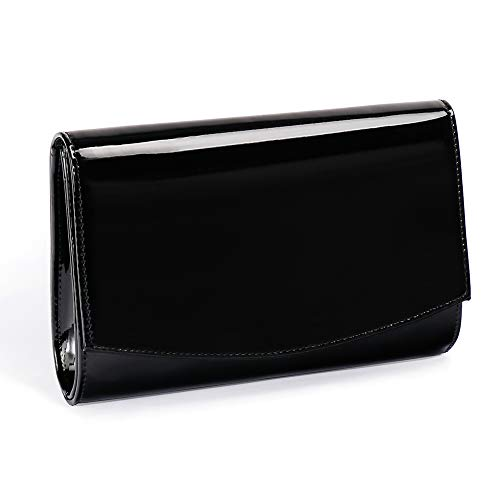 Women Patent Leather Wallets Fashion Clutch Purses,Wallyns Evening Bag Handbag Solid Color Black ()