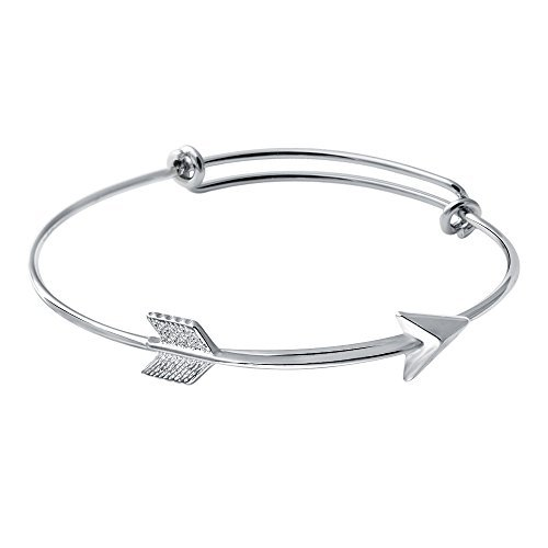 SENFAI Fashion Expandable Bangle Bracelets Silver Plated Adjustable Simple Wiring Arrow Bracelet
