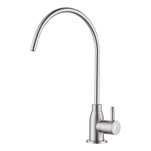 KES RO Water Filter Faucet Kitchen Bar Sink LEAD-FREE Brass Drinking Water Faucet, Brushed Nickel, Z103C1LF-2 ()