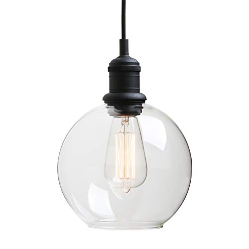 Vintage Handblown Pendant Light, Yosoan Industrial Hanging Lighting Globe Round Glass Shade Organic Contemporary Style for Kitchens Bathroom Living Room Dinning Room Porch Hallway Bar Hotel(Black)