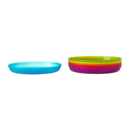 "IKEA - KALAS Children Color Plates, Set of 6, Length: 7 1/2 "" Width: 6 1/4 """