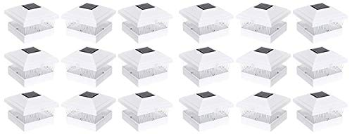 RELIGHTABLE 18 Pack Outdoor Garden 5 x 5 Solar LED Post Deck Cap Square Fence Light Landscape Lamp Lawn PVC Vinyl Wood (White) ()