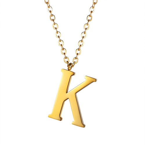Initial Letter K Necklace,Alphabet Name Jewelry,Men/Women,Personalized Groomsman Bridesmaid gift,Wedding Minimalist Bridal Party Graduation Gift,Stainless Steel,18K Gold Plated,P2811J