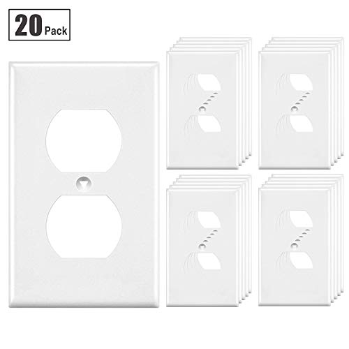 - [20 Pack] BESTTEN Duplex Wall Plates, 1 Gang Standard Size Outlet Covers, Unbreakable Polycarbonate Materials, UL Listed, White