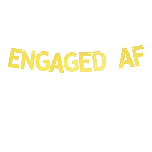 Glitter Gold Engaged AF Banner, Funny Engagement Party Decorations Bachelorette Bunting Photo Booth Props Signs Garland