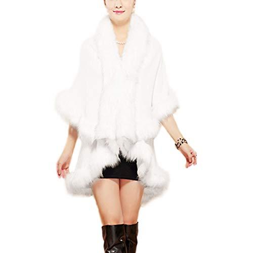 Women Faux Fox Fur Stole Shrug Cloak Cardigan Coat Bridal Wedding Hook Shawl White by xzbailisha