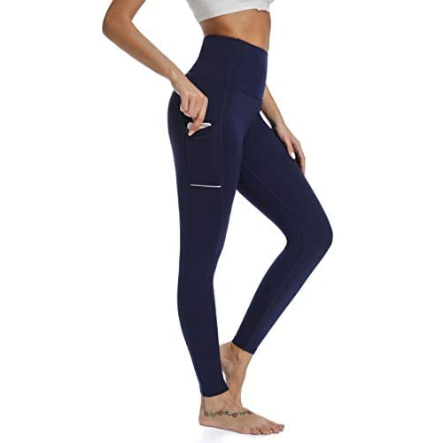 TOTOD High Waist Out Pocket Yoga Pants Tummy Control Workout Running 4 Way Stretch Yoga Leggings