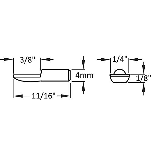 4mm''Spoon'' Cabinet Shelf Support Pins - Polished Nickel - 50 Pack by Desunia (Image #2)