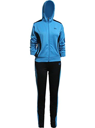 Womens Classic Hoodie Sweat Suit Jacket and Pants Set 2 Piece Tracksuit Blue Label Large/ US Size Small